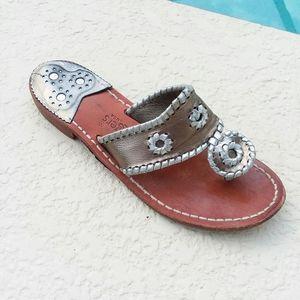 JACK ROGERS Flats Sandals Size 7 Bronze Silver
